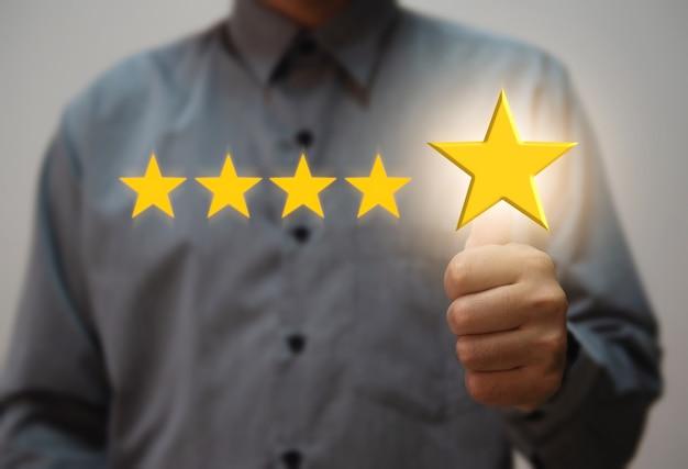 Mejor calificación de servicios excelentes por satisfacción concepto de satisfacción de la experiencia del cliente