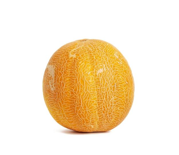 Melón maduro amarillo redondo aislado sobre fondo blanco, cerrar