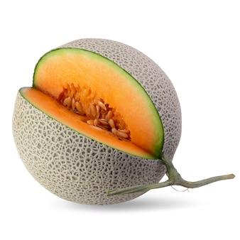 Melones cantalupo en rodajas aislados