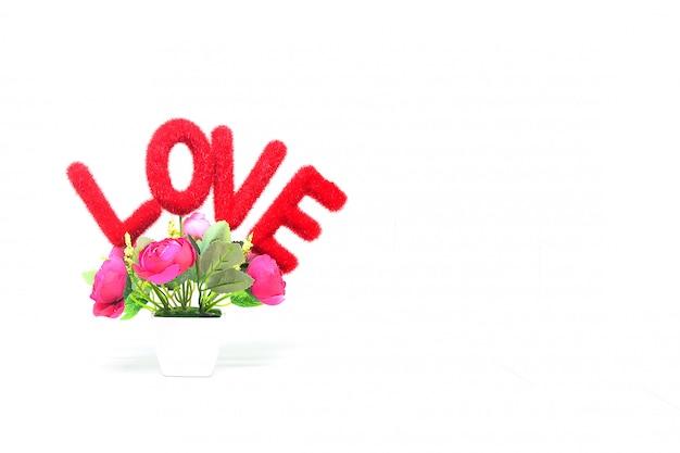 Mensaje de amor con flores rosas.