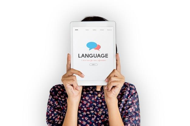 Mensaje de comunicación de idioma escrito