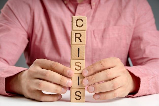 Mensaje de crisis de alto ángulo en bloques de madera