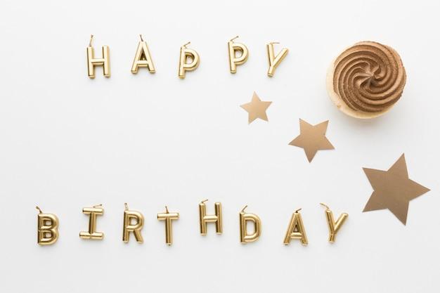 Mensaje de cumpleaños feliz aplanado para fiesta