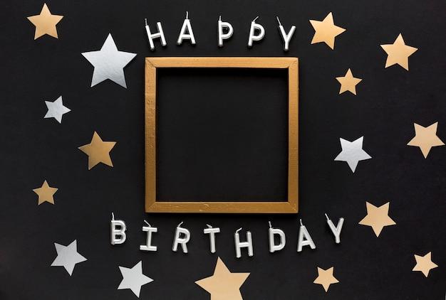 Mensaje de feliz cumpleaños con marco