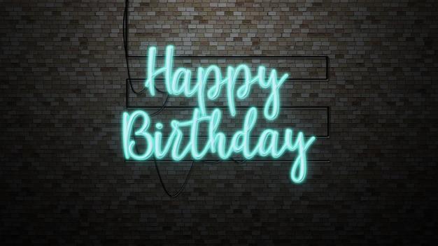 Mensaje feliz cumpleaños en la pared de ladrillo