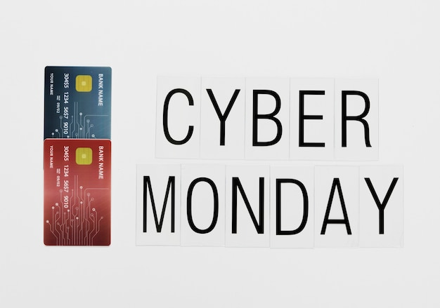 Mensaje de lunes cibernético en línea con tarjetas