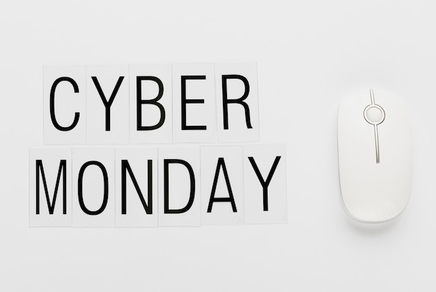 Mensaje de lunes cibernético con mouse blanco