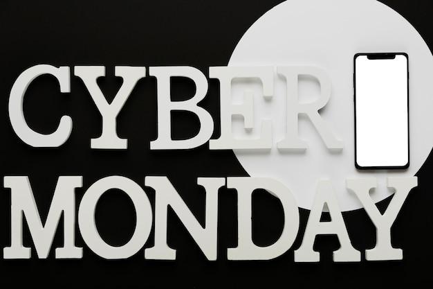 Mensaje de lunes cibernético con móvil