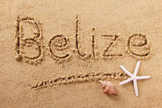 Mensaje de signo de arena de playa de belice