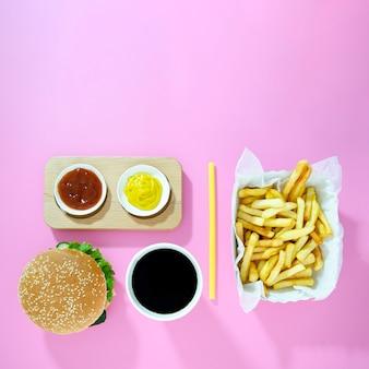 Menú de comida rápida con espacio de copia