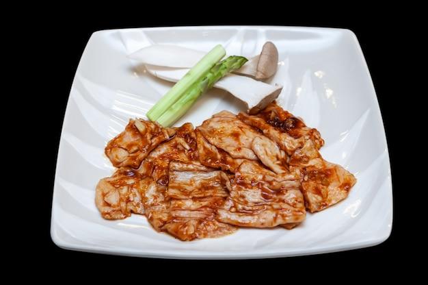 Menú de yakiniku de intestino de res japonés.