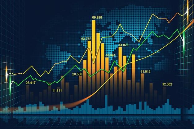 Mercado bursátil o forex gráfico en concepto gráfico