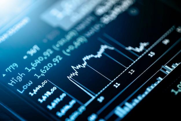 Mercado bursátil o gráfico comercial en pantalla led, inversión financiera y concepto de tendencias económicas