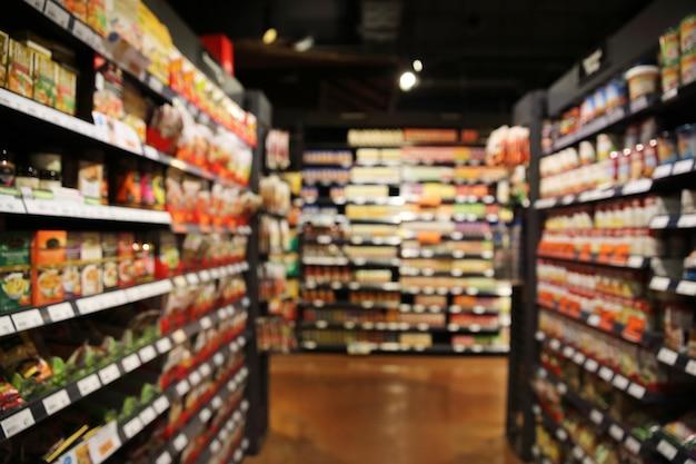 Mercado de compras en el fondo borroso