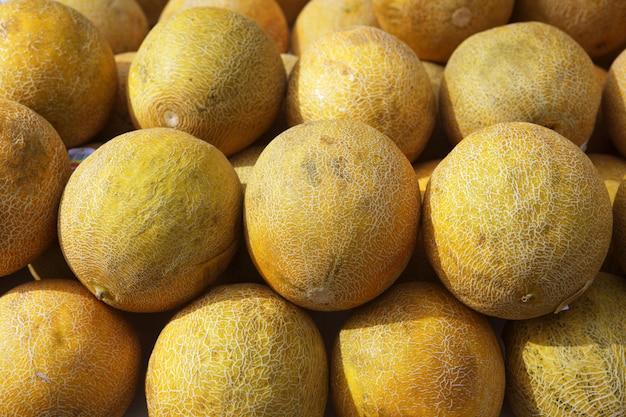 Mercado de frutas de melón amarillo filas apiladas