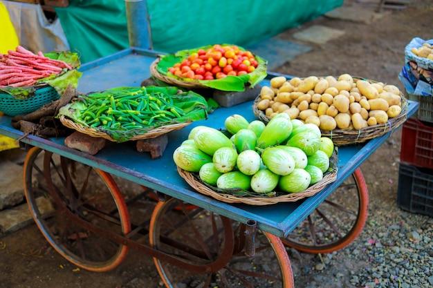 Mercado indio de verduras