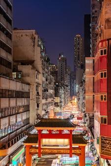Mercado nocturno de temple street en hong kong