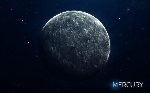 Mercurio - planetas del sistema solar en alta calidad. fondo de pantalla de ciencia.