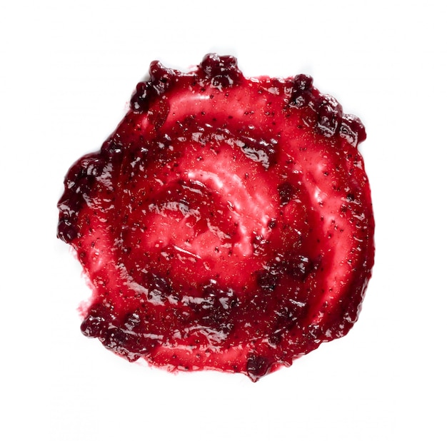 Mermelada de bayas de color rojo oscuro mancha redonda marco o punto aislado