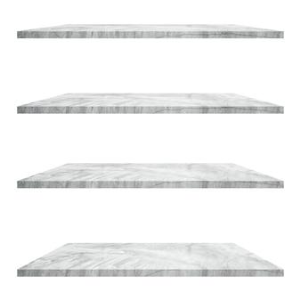 Mesa de 4 estantes de hormigón aislada sobre fondo blanco y montaje de exhibición para producto.