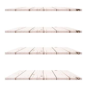 Mesa de 4 estantes de madera aislada sobre fondo blanco y montaje de exhibición para producto.