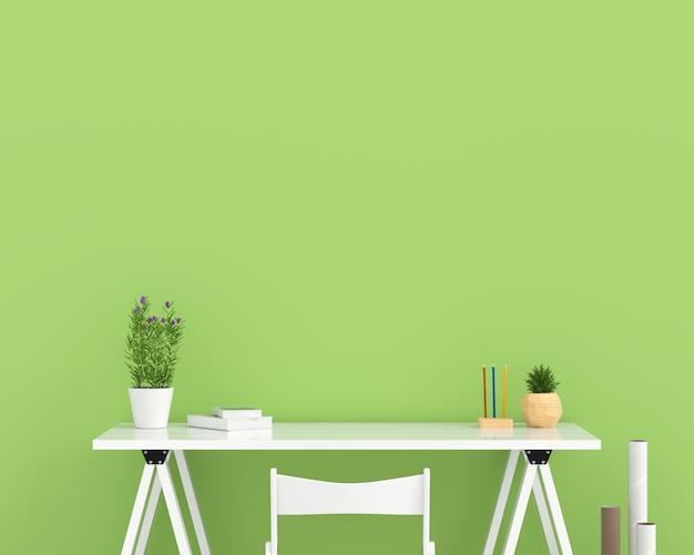 Mesa blanca vacía en sala verde para maqueta