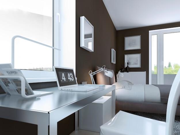 Mesa brillante en dormitorio contemporáneo con paredes de color topo y muebles elegantes