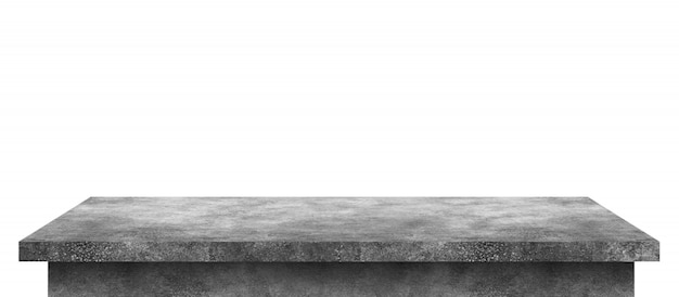 Mesa de cemento vacía con patrón de piedra aislado en blanco puro