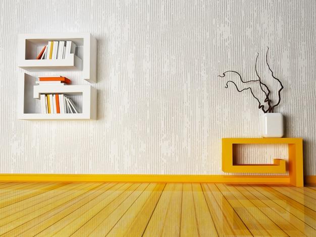 Una mesa creativa y un estante.
