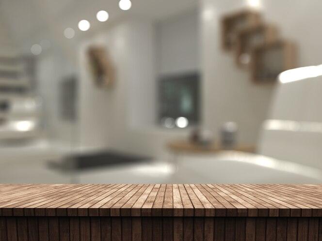 Mesa de madera 3d mirando hacia el interior de una habitación desenfocada