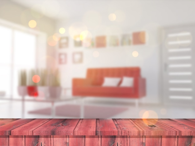 Mesa de madera 3d mirando hacia un interior de salón desenfocado