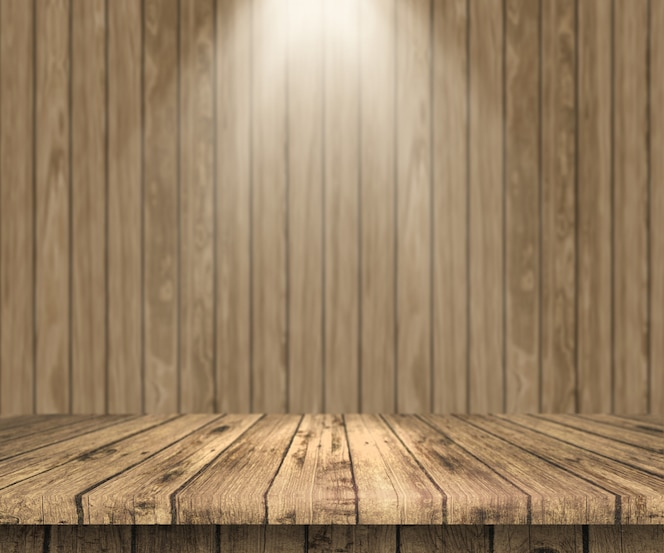 Mesa de madera 3d mirando