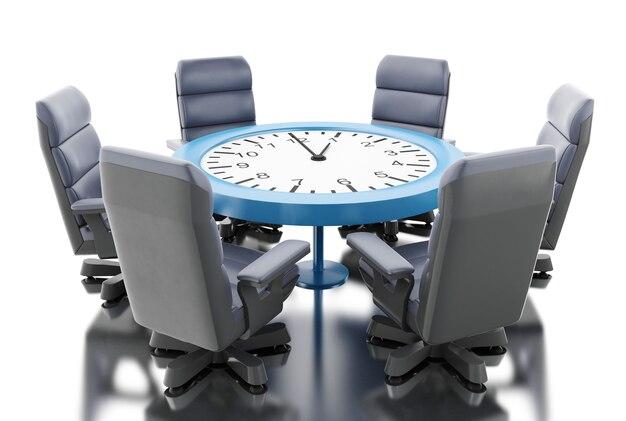 Mesa de oficina 3d como reloj con sillones