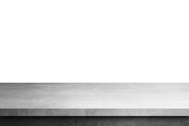 Mesa de estante de cemento aislada sobre un fondo blanco, para productos de exhibición