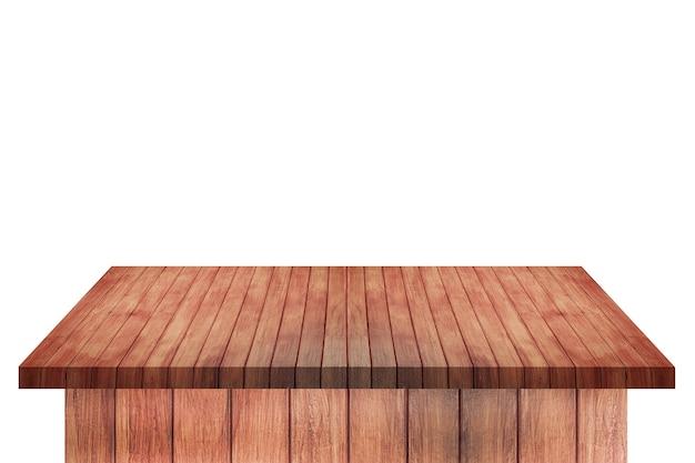 Mesa de estante de madera marrón vacía aislada sobre fondo blanco. para el montaje de su producto