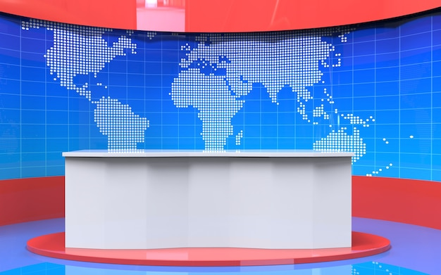 Mesa y fondo de banner de noticias de última hora en el estudio de noticias