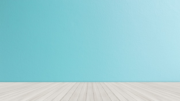 Mesa con fondo de pared de ladrillo azul brillante