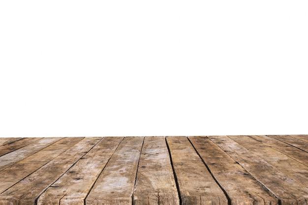 Mesa hecha con tablas viejas sin fondo
