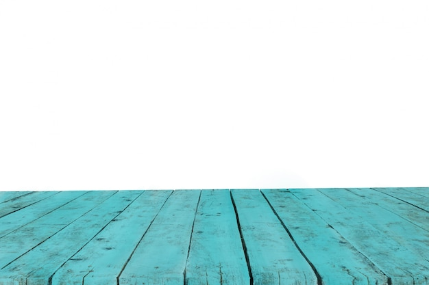 Mesa hecha con viejas tablas de color turquesa sin fondo