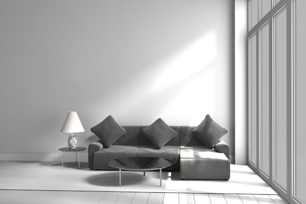 Mesa de lámpara de sofá de color blanco y negro