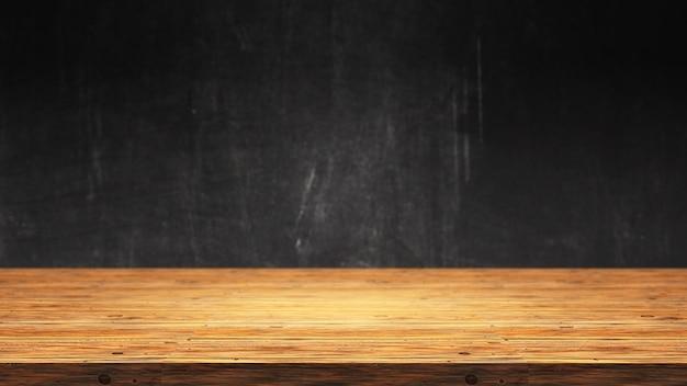 Mesa de madera 3d contra un fondo grunge desenfocado