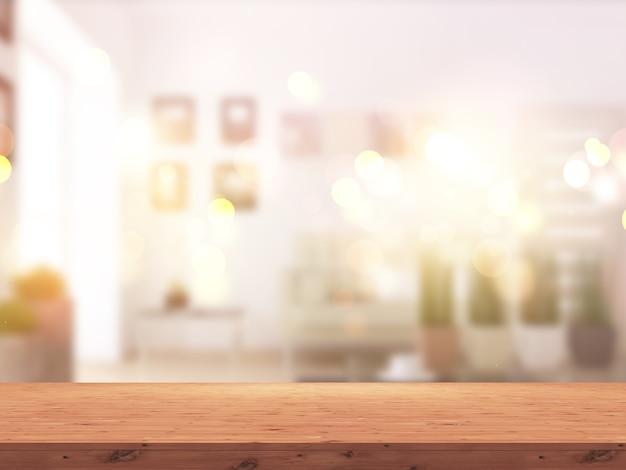 Mesa de madera 3d contra el interior de una habitación soleada desenfocada.