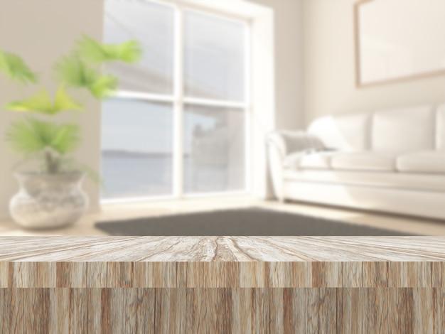 Mesa de madera 3d contra un interior de salón desenfocado.