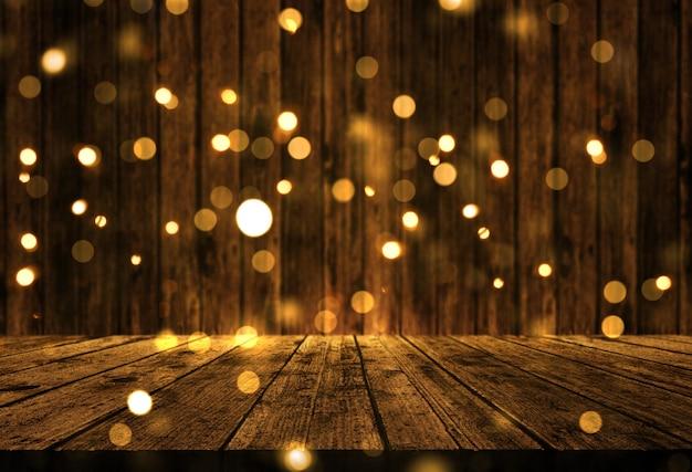 Mesa de madera 3d con luces bokeh de navidad.