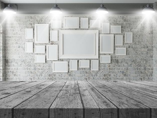 Mesa de madera 3d mirando a una pared de marcos en blanco