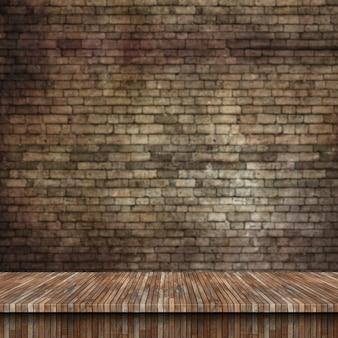 Mesa de madera 3d y pared de ladrillo grunge