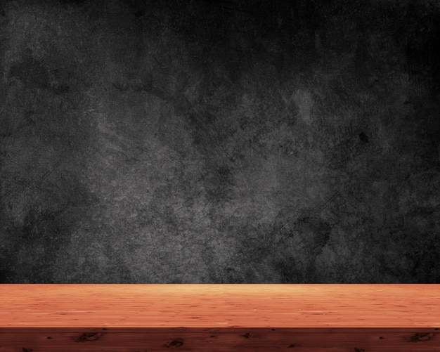 Mesa de madera 3d sobre un fondo negro grunge