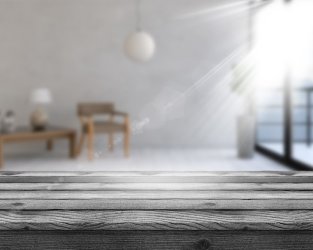 Mesa de madera 3d con vista al interior de una habitación desenfocada.