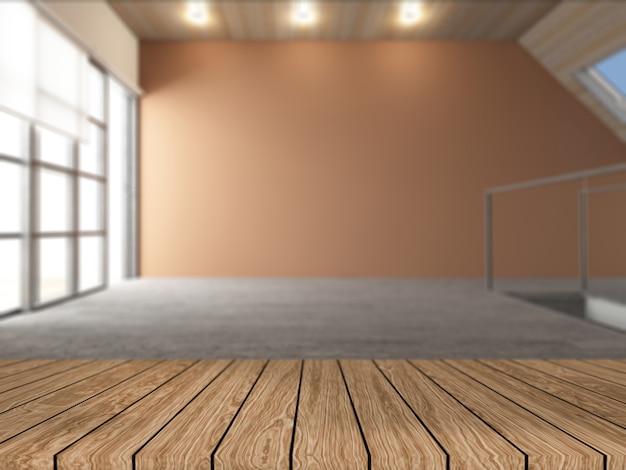 Mesa de madera 3d con vistas a una habitación vacía desenfocada