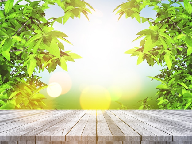 Mesa de madera 3d con vistas a las hojas y al paisaje desenfocado